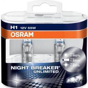 night breaker unlimited, halogenines lemputes, osram lemputes, philips lemputes, lemputes automobiliams, H1 lemputės